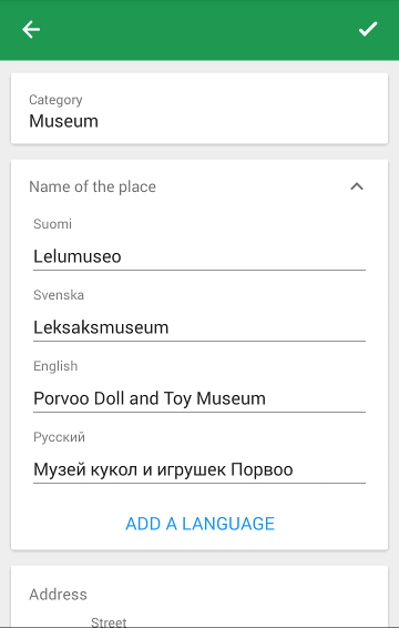 Screenshot of the editor with local names