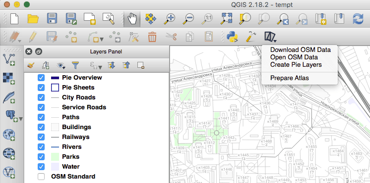 QGIS with a Walking Papers popup menu opened