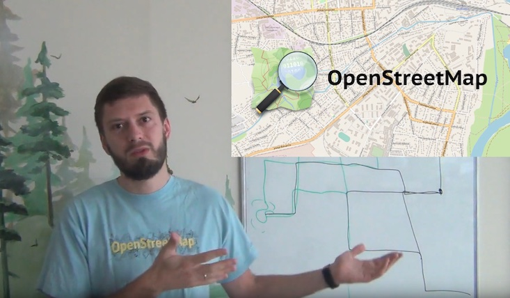 Илья показывает на слайд «OpenStreetMap»